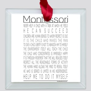 MontessoriQuotes Square Glass Ornament