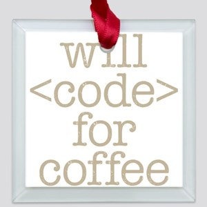 Code For Coffee Square Glass Ornament