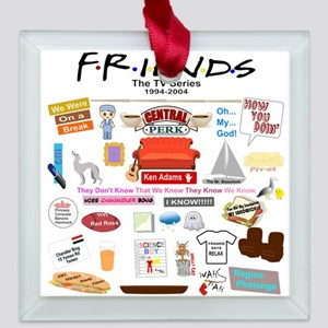 Friends TV Show Collage Square Glass Ornament