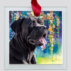 Cane Corso Painting Square Glass Ornament