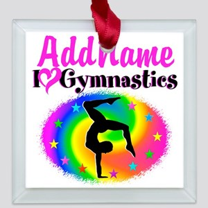 GYMNAST STAR Square Glass Ornament