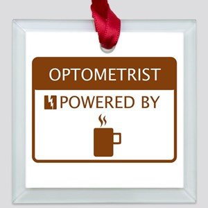 Optometrist Powered by Coffee Square Glass Ornamen