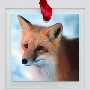 Cute Fox Square Glass Ornament