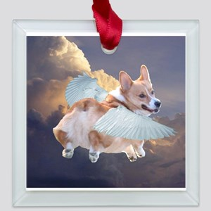 corgi angel Square Glass Ornament