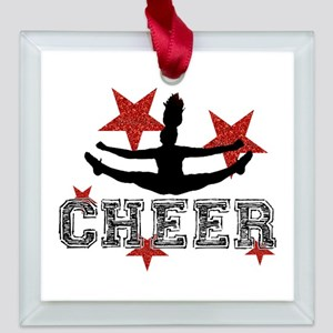 Cheerleader Square Glass Ornament