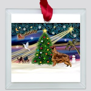 card-XmasMagic-IrishSetter Square Glass Ornament