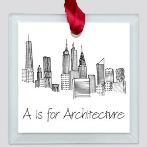 A is for Architecture Skyline Square Glass Ornamen