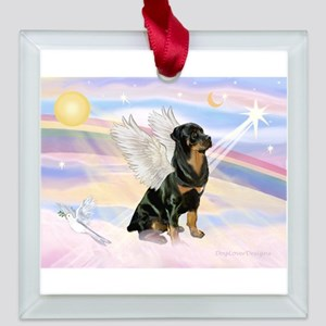CLOUDS-Rottieangel3.png Square Glass Ornament