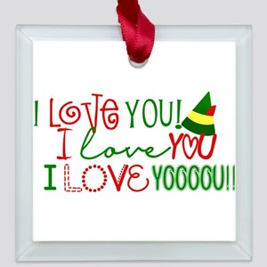 I Love You Elf Movie Quote Square Glass Ornament