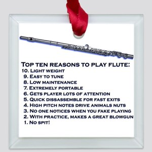 Flute Top 10 Square Glass Ornament