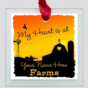 My Favorite Farm Square Glass Ornament