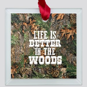 BETTER IN THE WOODS Square Glass Ornament