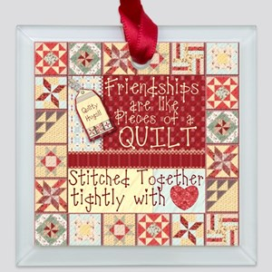 Quilting Friendships Square Glass Ornament