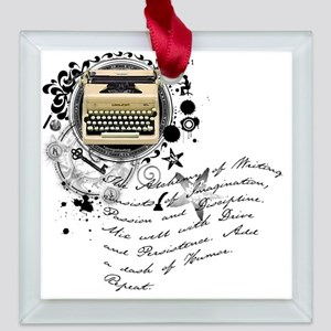writer2 Square Glass Ornament