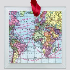 Vintage World travel map Square Glass Ornament