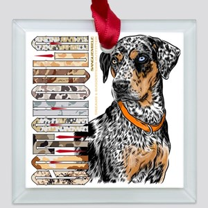 Catahoula Square Glass Ornament