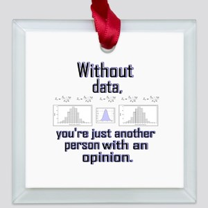 Without data Square Glass Ornament