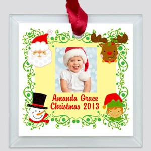 Customize Babys Christmas Square Glass Ornament