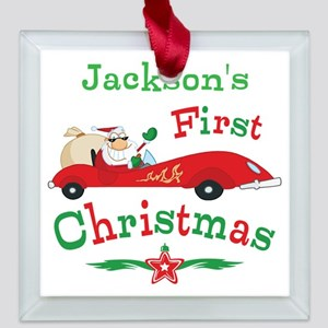 Custom 1st Christmas Square Glass Ornament