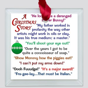 A Christmas Story Quotations Square Glass Ornament