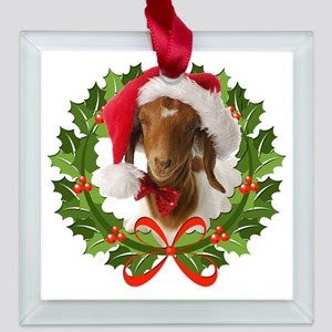 Baby Boer Goat in Santa Hat Square Glass Ornament