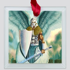 saint angel michael Square Glass Ornament
