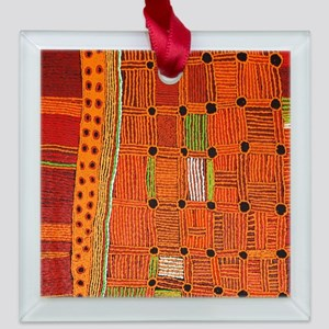 Australian Aboriginal Art in Square Glass Ornament