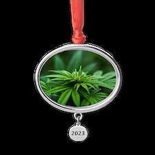 Marijuana Oval Year Ornament