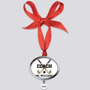 Personalized Field Hockey Coach Oval Year Ornament