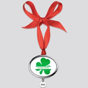 Custom Name Shamrock Oval Year Ornament