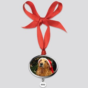 golden xmas 16x12 Oval Year Ornament