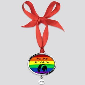 We are all equal rainbow earth Oval Year Ornament