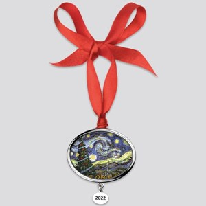 Starry Night/ Peace on Earth Oval Year Ornament