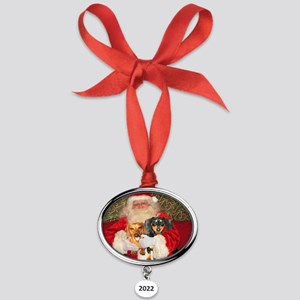 Kids With Santa Oval Year Ornament