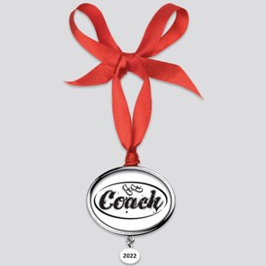 Running Coach Oval Year Ornament