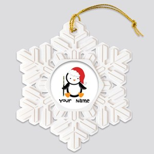 Personalized Christmas Flute Penguin Snowflake Orn