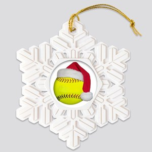 Softball santa png Snowflake Ornament