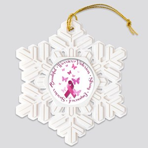 Breast Cancer Pink Ribbon Snowflake Ornament