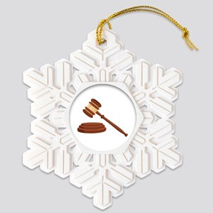 Judge Gavel Snowflake Ornament