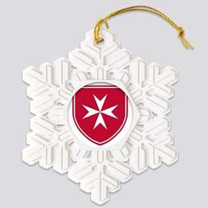 Cross of Malta - Red Shield Snowflake Ornament