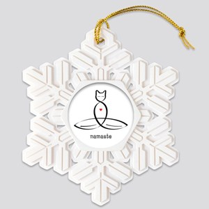Cat Meditator - Namaste Snowflake Ornament
