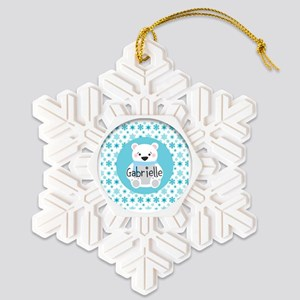 Personalized Christmas Snow Bea Snowflake Ornament