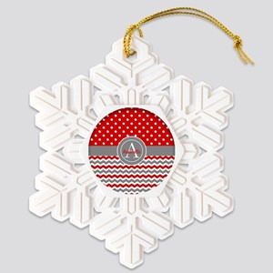 Red Gray Polka Dot Chevron Snowflake Ornament