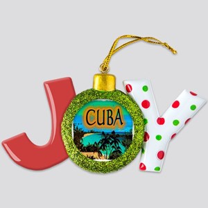 cuba beach art illustration Joy Ornament