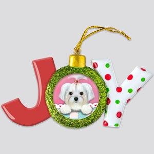 morkie shelly square Joy Ornament