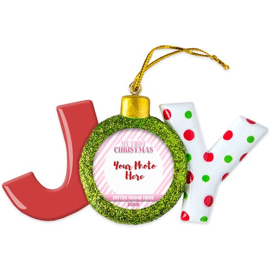 Pink First Christmas Personalized Round Ornament