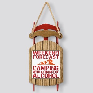 Weekend Forecast Camping Sled Ornament