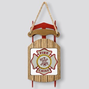 Fire Chief Maltese Sled Ornament