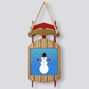 I love you more snowman Sled Ornament