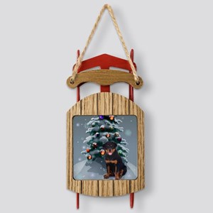 rott pup christmas redo square Sled Ornament